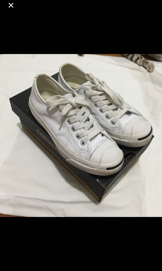 bb0b03f698f2 authentic converse jack purcell all white leather shoe
