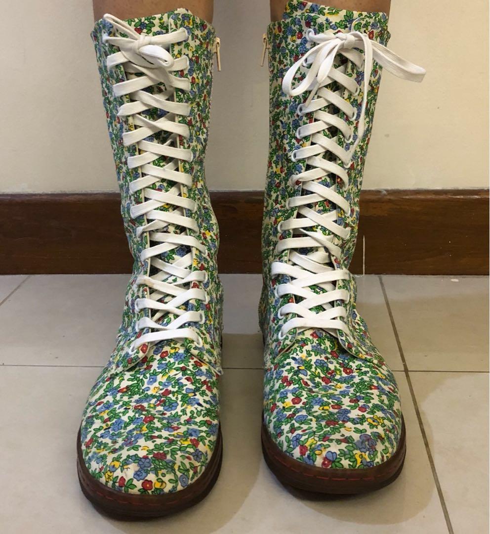 Authentic Dr Martens floral canvas boot