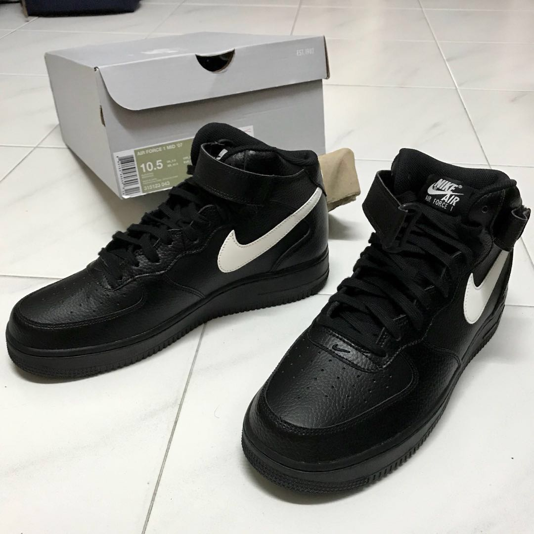 the latest 2fe67 f63c8 AUTHENTIC Nike Air Force 1 Mid 07 Classic Black Sail Leather White Swoosh  Logo Shoes Sneakers, Men s Fashion, Footwear, Sneakers on Carousell