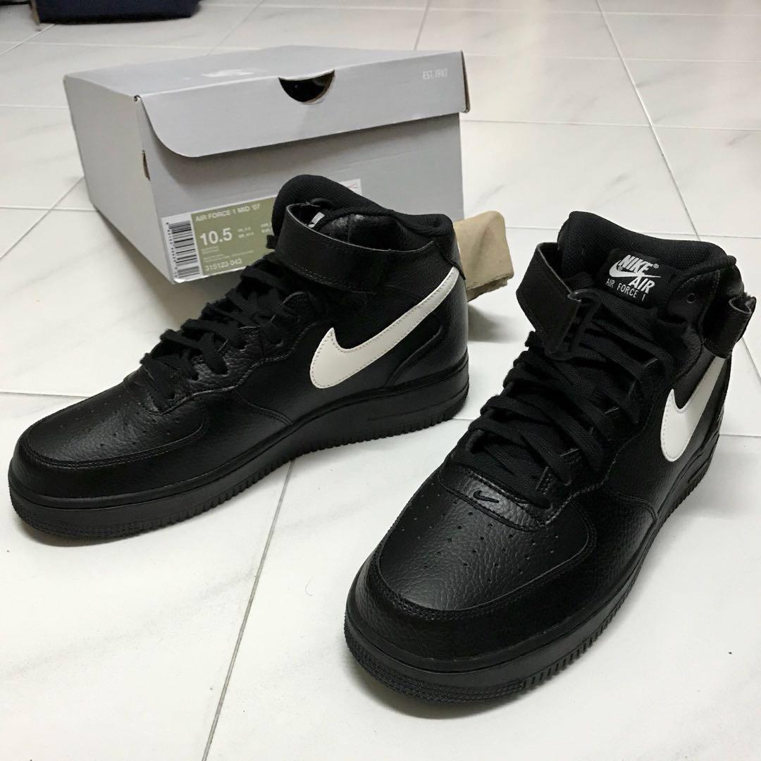 AUTHENTIC Nike Air Force 1 Mid 07 Classic Black Sail Leather ...