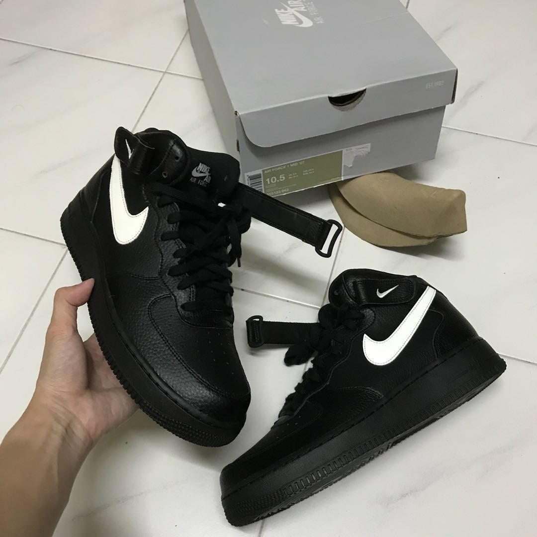 939260dd605c Authentic nike air force mid classic black sail leather white jpg 1080x1080 Velcro  shoe yellow swoosh