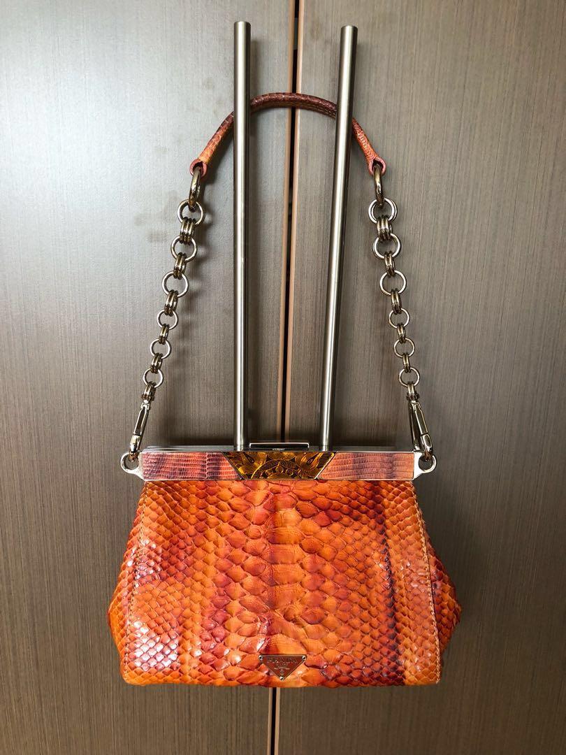 737b3d285c Authentic Prada lizard snekeskin orange bag