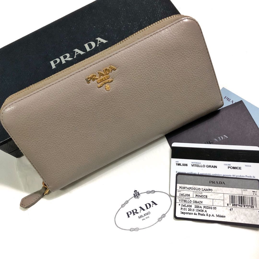 98bbccd1898012 Authentic Prada Zippy Soft Grained Leather Wallet, Luxury, Bags ...
