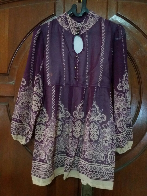 Blouse Babydoll Chiffon Batik Dark Purple