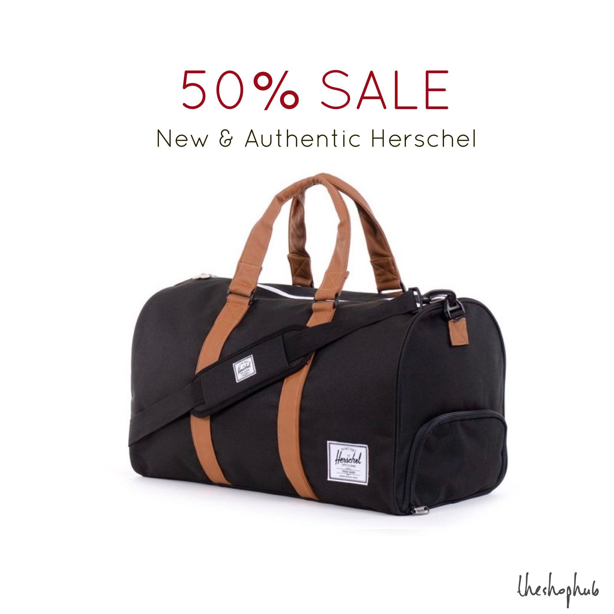 5797ef0a8108 CHEAPEST  Authentic Herschel Novel Duffle Bag- Black with brown ...