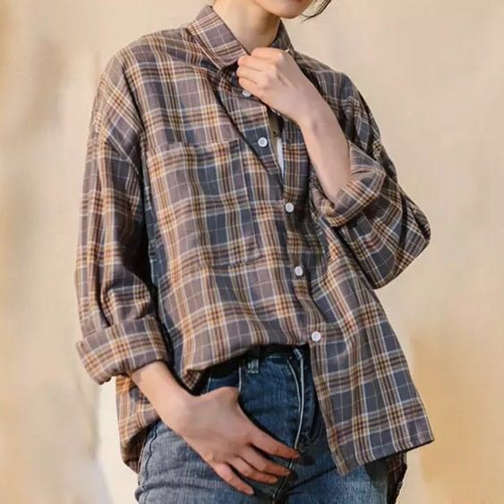 9283e6db3c6 Checkered Plaid Flannel Shirt brandy melville style Loose Oversize ...