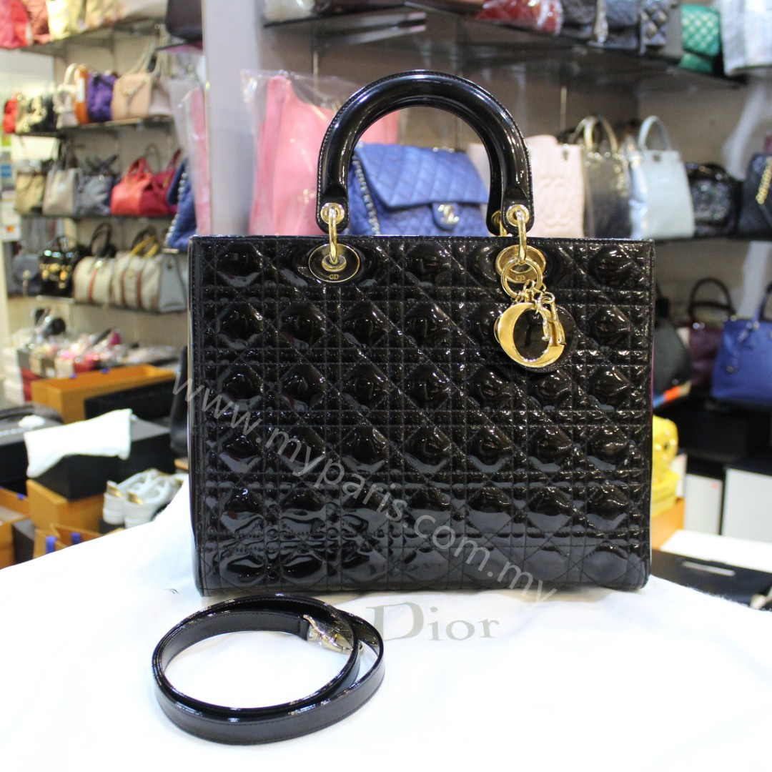 1d29d1aaf Christian Dior Black Patent Leather Lady Dior Large GHW, Luxury, Bags &  Wallets on Carousell