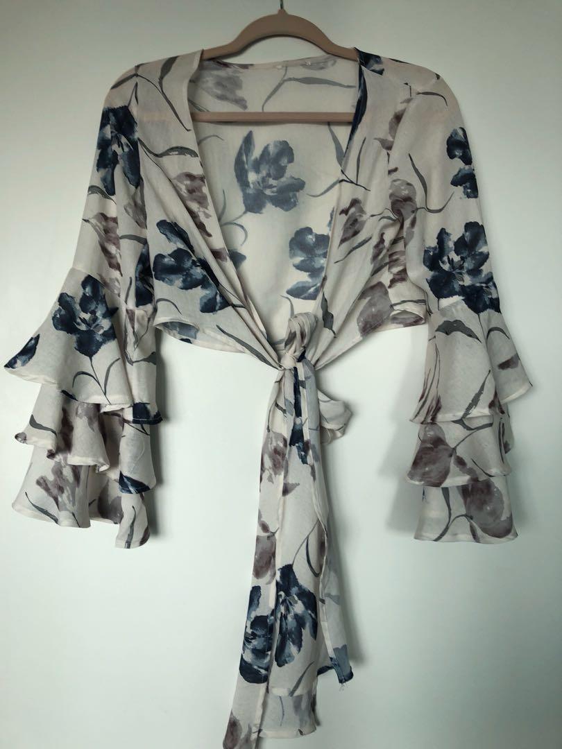 Floral wrap top
