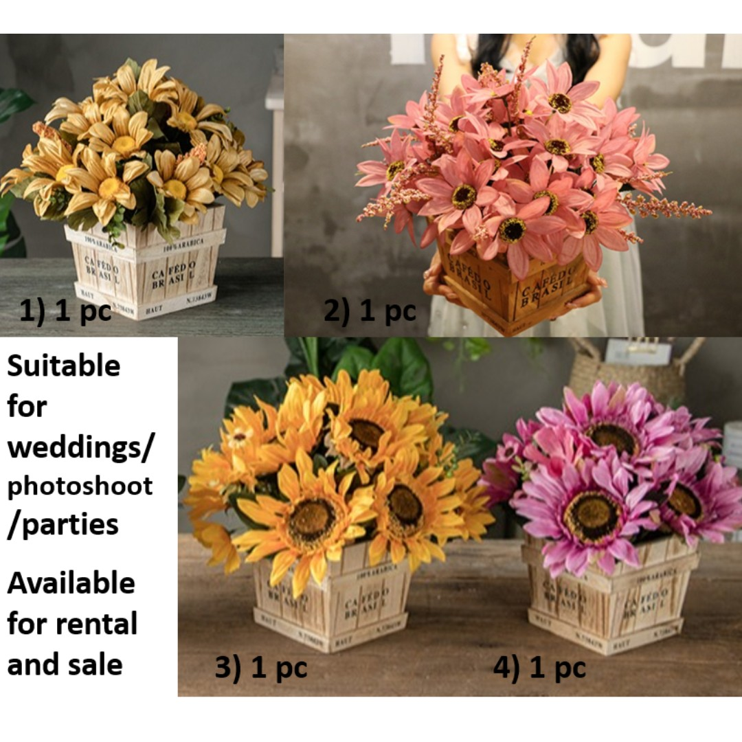 For Rentsale Rustic Artificial Flowers With Pots Gardening