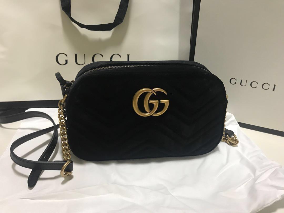 Gucci Marmont velvet small shoulder bag, Women\u0027s Fashion