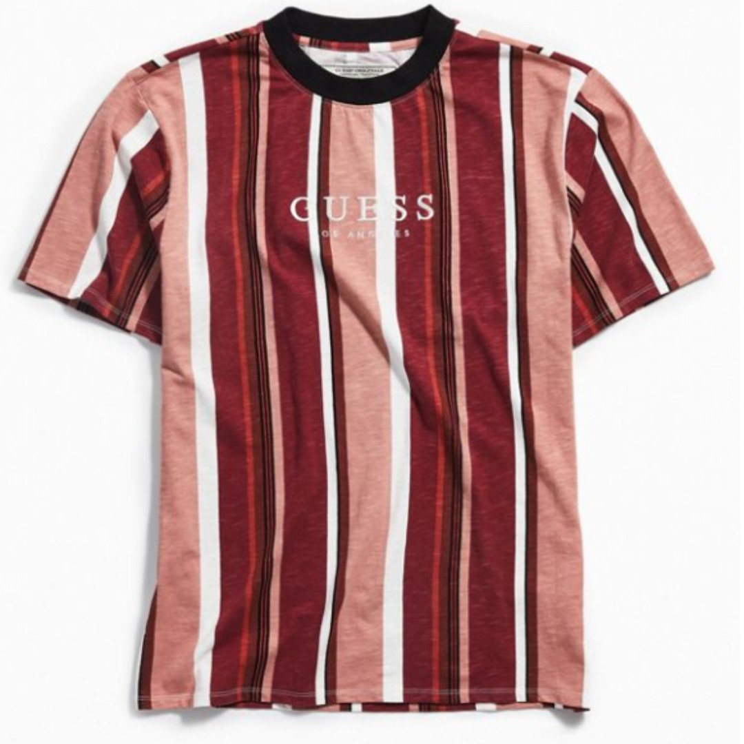 5608703a85 GUESS Originals Sayer Stripe Tee - Red, Men's Fashion, Clothes, Tops on  Carousell