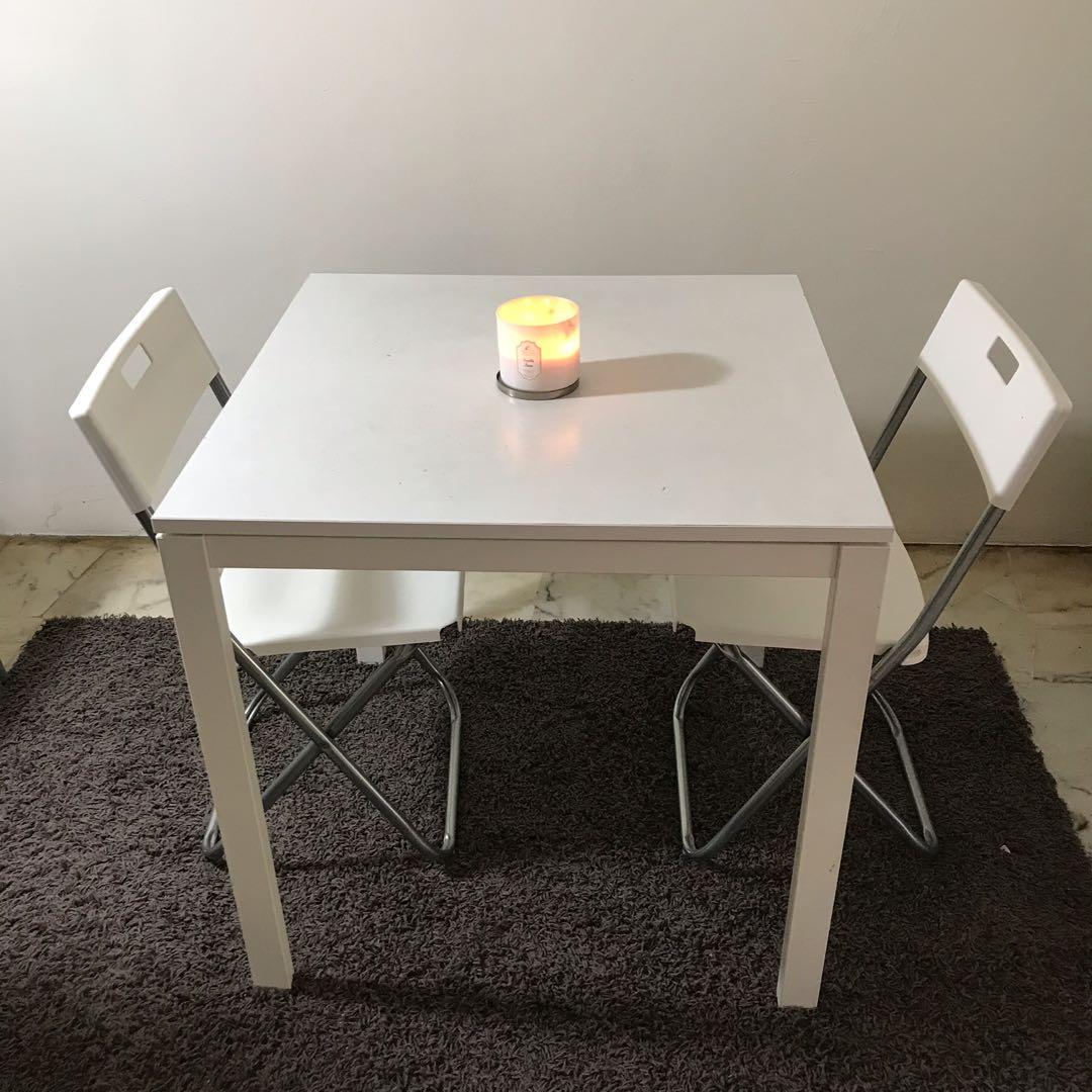 Ikea dining table free 3 chair rumah perabot perabot di carousell