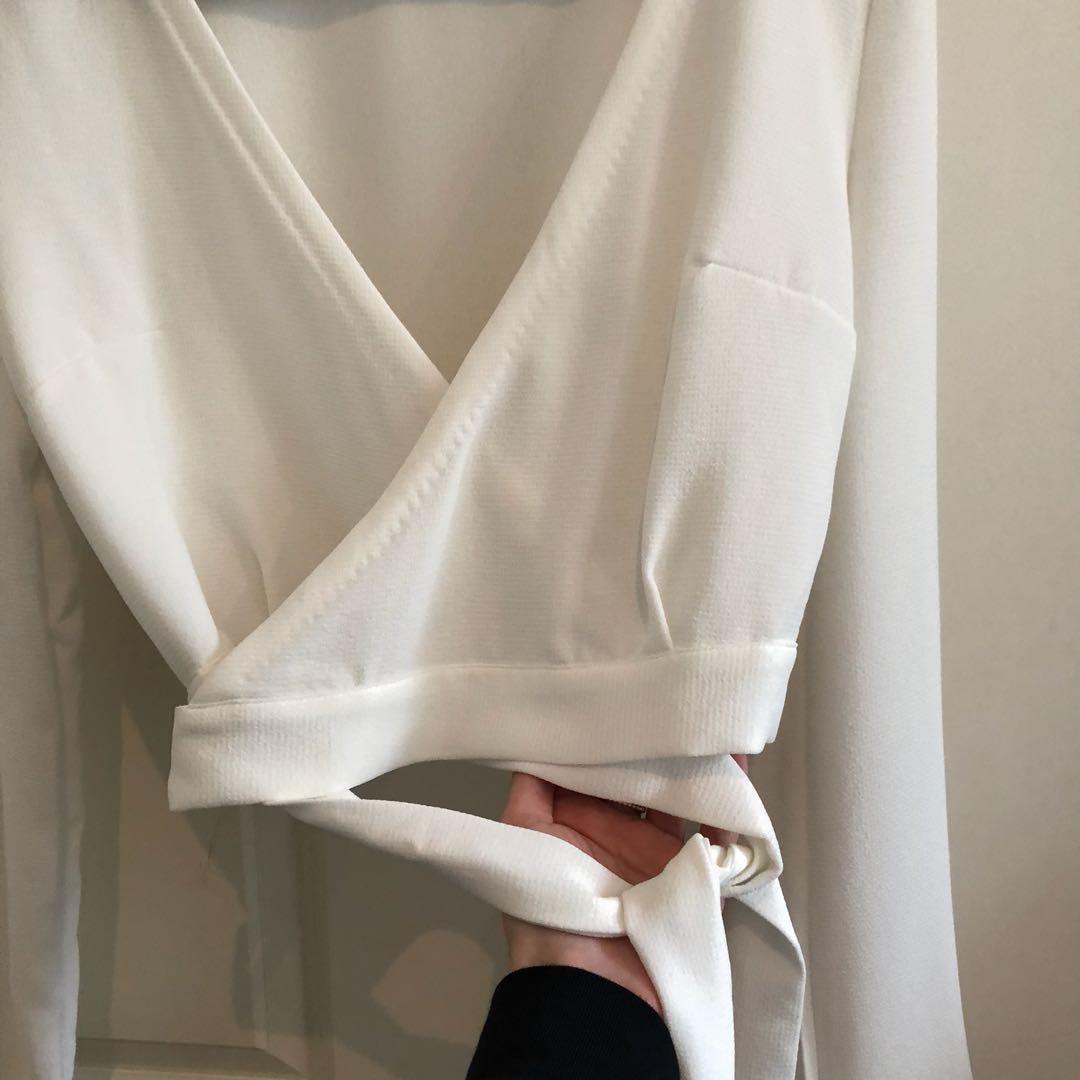 Kookai White Side Tie-Up Crop