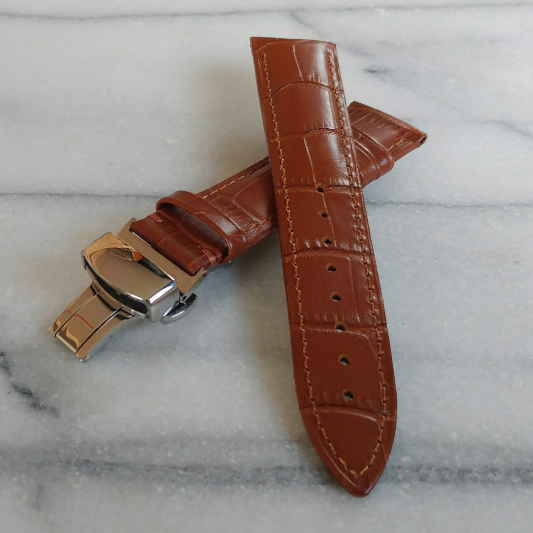 f3708bde4 Leather Watch Strap - Light Brown Alligator Embossed Genuine Leather ...