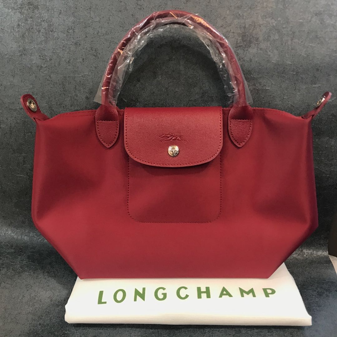 413142175dc Longchamp Le Pliage Neo Maroon Red