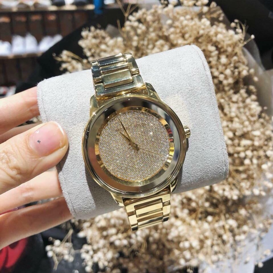 dbdcd99e995e Michael Kors Kinley Pave Gold Tone Stainless Steel Women s Watch ...