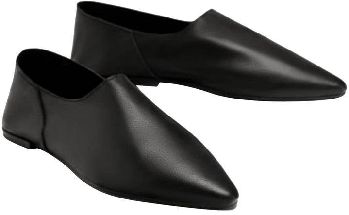 NEW Zara size 37 Foldable Black Leather Flats