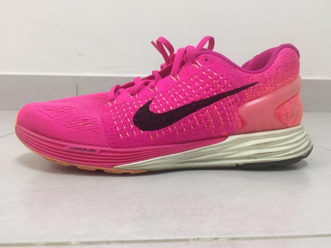 342769e7ffe6 Nike Lunarglide 7 Womens 747356-600 Pink Flyknit Mesh Running Shoe ...