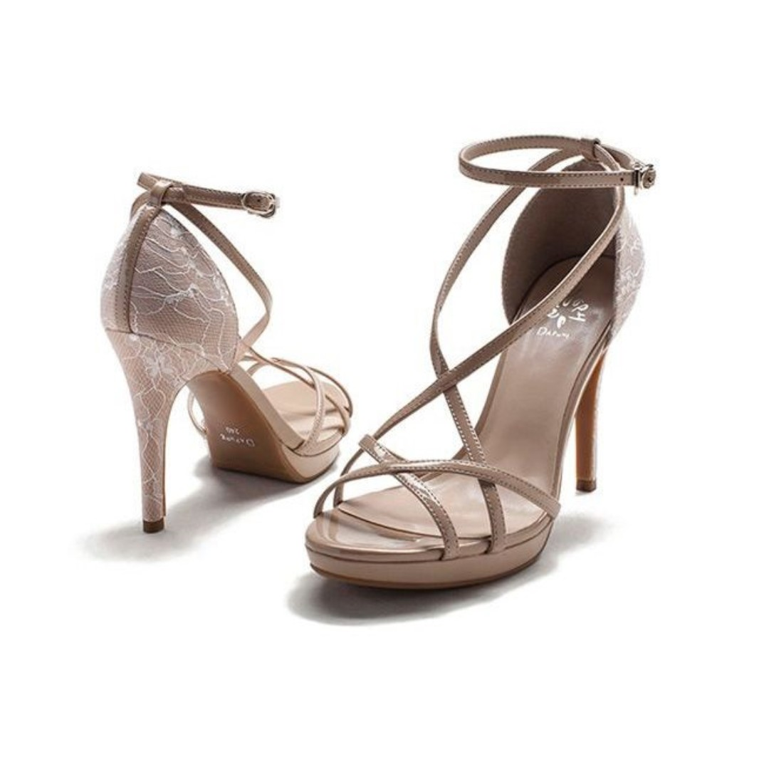 250fc2c9890 Nude White Lace Cross Strap High Heels Sandals Shoes EU 37 Dress ...