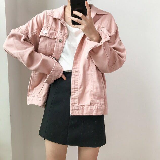 c6ffa7bbc31a45 Pink Denim Jacket Loose Staple Everyday oversize Korean Kpop Ulzzang ...