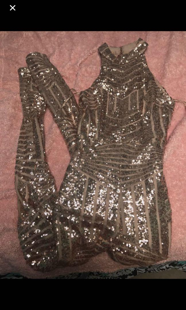 Rose Gold Sequins Open Back Jumpsuit (Hot Miami Styles)