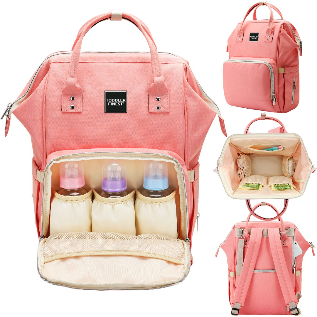 1a471ff17e0 Toddler Finest Diaper Bag - Multi-Function Waterproof Travel Backpack - Nappy  Bags - For Baby Care, Large Capacity, Stylish and Durable (Cherry Pink), ...