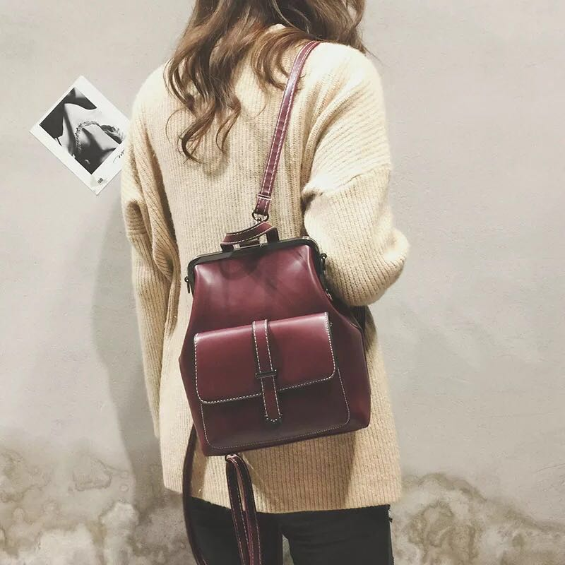494da226cd Vintage Backpack Women Ladies Girls Wine Red Small School Bag ...