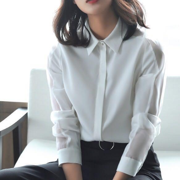White Blouse Collar Shirt smart formal