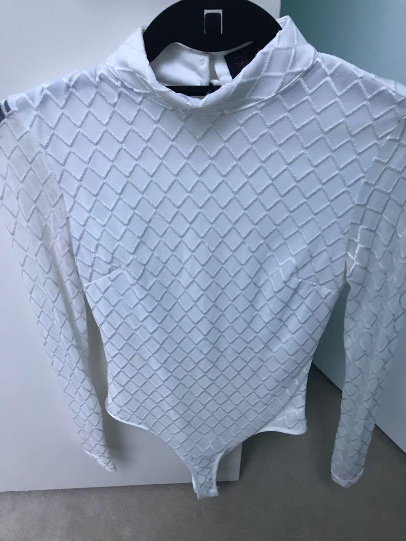 White Diamond Stitched Long Sleeves Bodysuit (Hot Miami Styles)