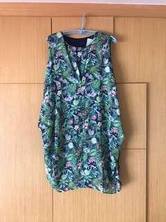 日本品牌Scolar 雪紡動物花卉背心洋裝