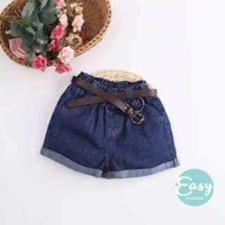 Girls Kids Jeans Short Pants with Belt