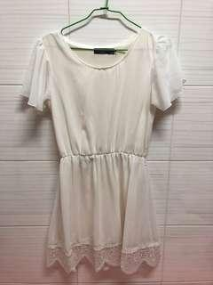 🚚 OB白色洋裝M