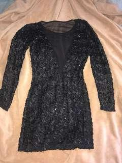 Stunning black sequin designer New Years dress