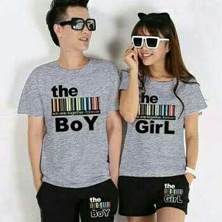 T-SHIRT COUPLE THE BOY AND GIRL GREY