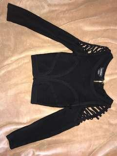 Bebe bodycon black crop shirt