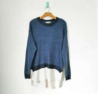 Blue and white sweatshirt
