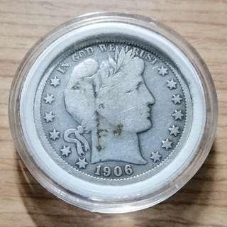 🚚 美國1906年巴伯半美圓銀幣 O版 較少版本 VF+ 保真 附內墊小圓盒