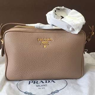 c07d0199e91227 Brand New Prada Double Zip Leather Camera Bag - Color Cammeo