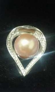 大減價925銀水晶心形粉橙色養珠吊咀顏色特名靚 (蝕售)