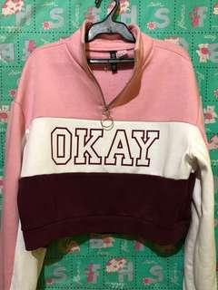 "💯Authentic H&M ""OKAY"" cropped jacket"