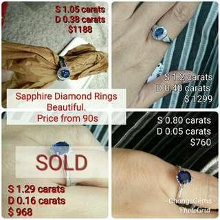 Sapphire diamond rings. Prices as shown on photo