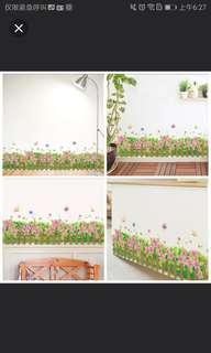 ✔INSTOCK Small fresh skirting wall flower stickers kindergarten shop wall decoration wall decals corner arrangement pansy ⭕SIZE W103*H36cm
