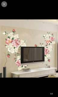 Peony flower wall stickers living room TV background wall stickers bedroom sofa home decoration removable video wall stickers