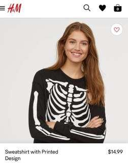 H&M Glow in the Dark skeleton sweater