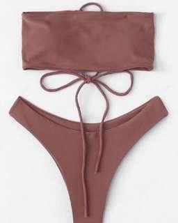 Lace up plain bikini set