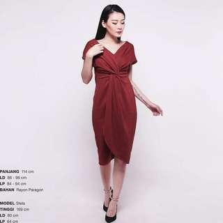 New Maroon Red Party Knot Dress