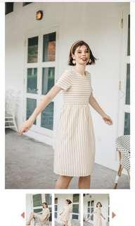 TSW striped midi dress in sand