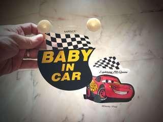 Lightning McQueen baby in car sign