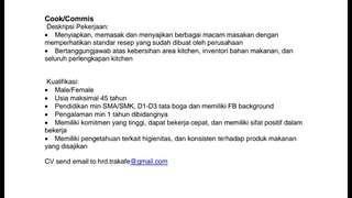 LOWKER COOK/COMMIS di Surabaya (Mulyosari)