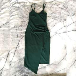Green wrap dress size 6